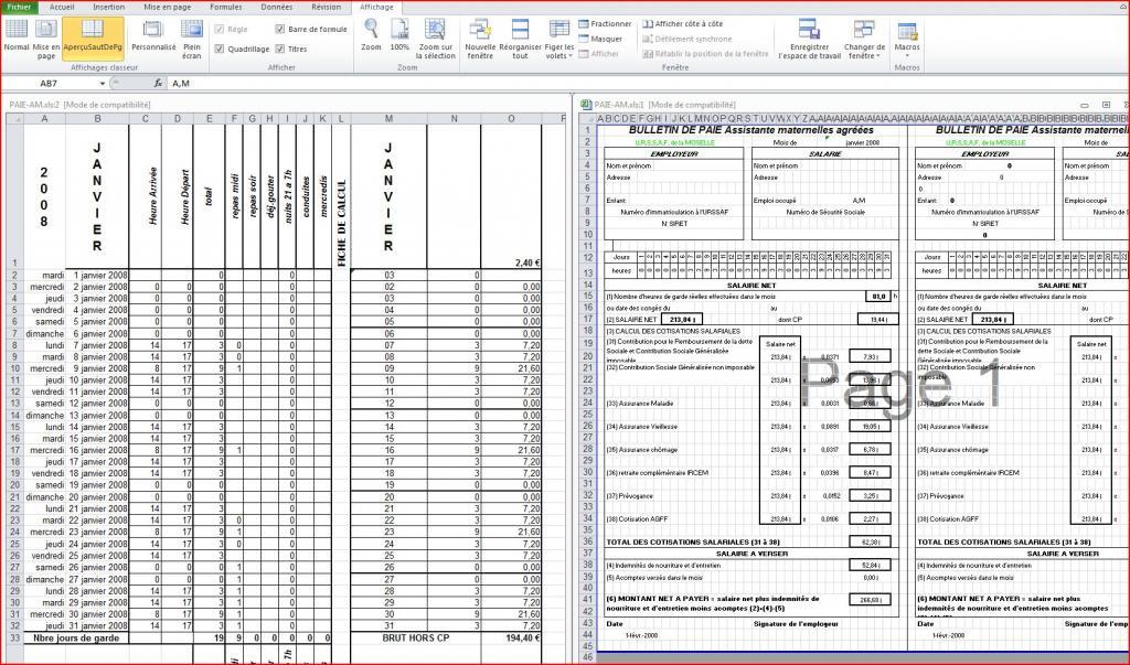 Très modele bulletin de salaire assistant maternelle excel - CCMR VY91