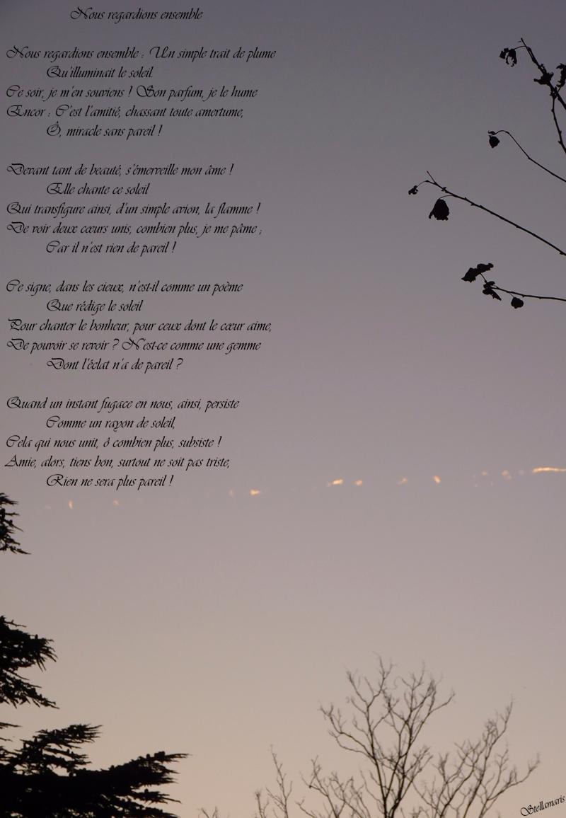 Nous regardions ensemble / / Nous regardions ensemble : Un simple trait de plume / Qu'illuminait le soleil. / Ce soir, je m'en souviens ! Son parfum, je le hume / Encor : C'est l'amitié, chassant toute amertume, / Ô, miracle sans pareil ! / / Devant tant de beauté, s'émerveille mon âme ! / Elle chante ce soleil / Qui transfigure ainsi, d'un simple avion, la flamme ! / De voir deux cœurs unis, combien plus, je me pâme ; / Car il n'est rien de pareil ! / / Ce signe, dans les cieux, n'est-il comme un poème / Que rédige le soleil / Pour chanter le bonheur, pour ceux dont le cœur aime, / De pouvoir se revoir ? N'est-ce comme une gemme / Dont l'éclat n'a de pareil ? / / Quand un instant fugace en nous, ainsi, persiste / Comme un rayon de soleil, / Cela qui nous unit, ô combien plus, subsiste ! / Amie, alors, tiens bon, surtout ne soit pas triste, / Rien ne sera plus pareil ! / / Stellamaris